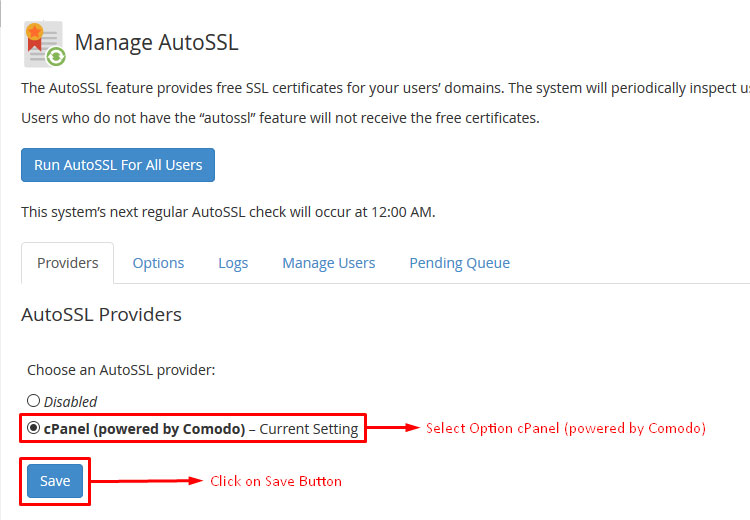 How to Use WHM/cPanel Free AutoSSL Certificate Screenshot 2