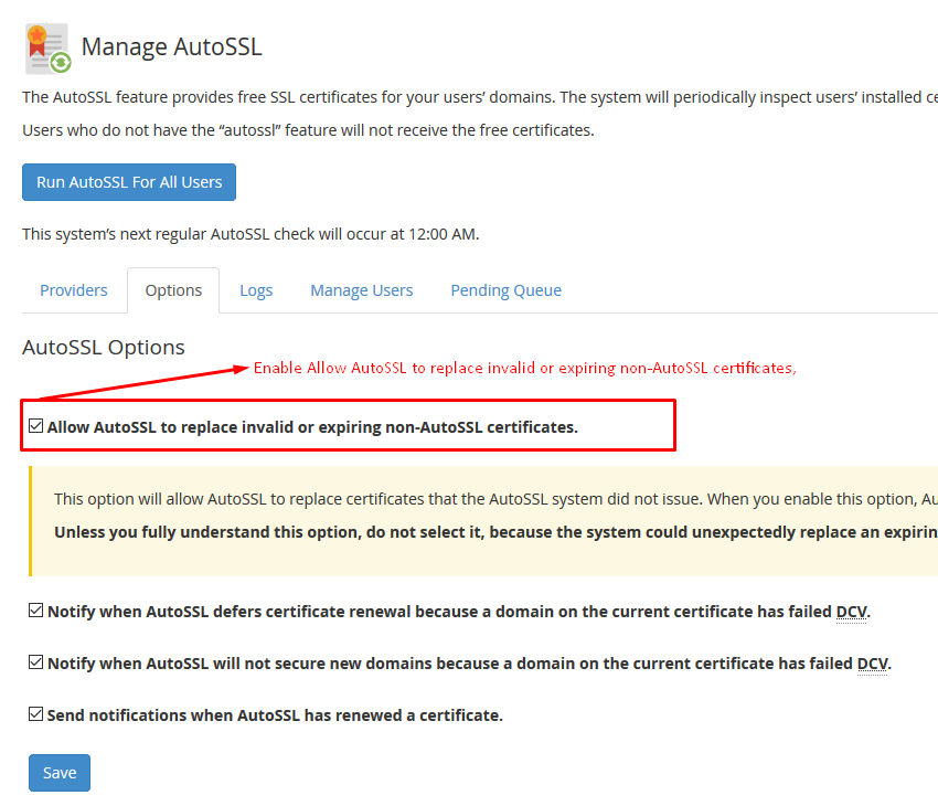 How to Use WHM/cPanel Free AutoSSL Certificate Screenshot 3