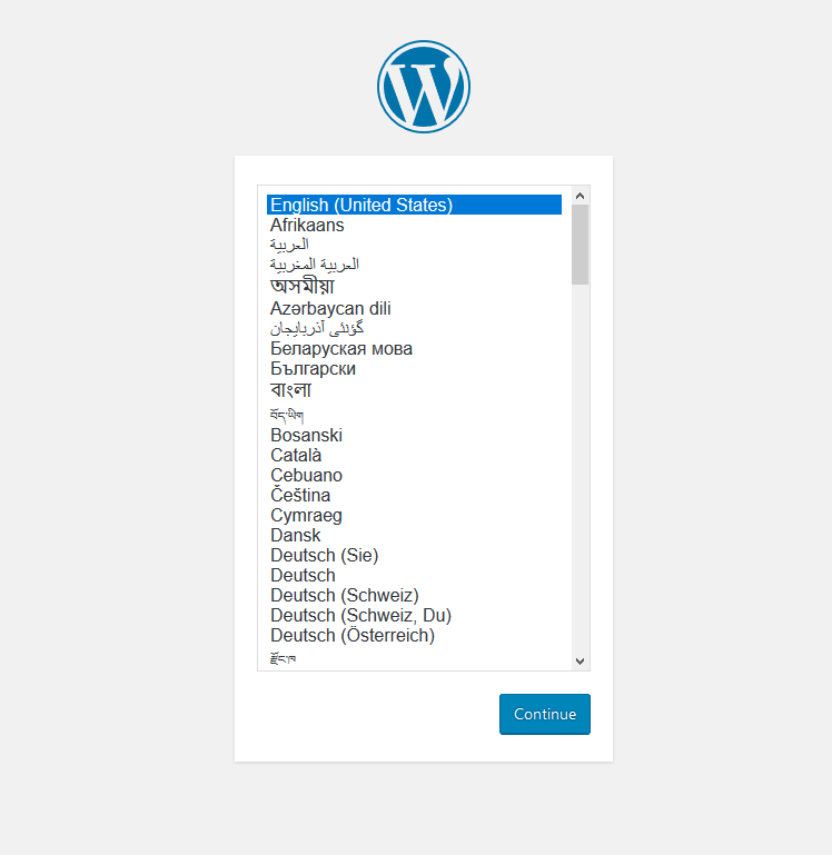 WordPress Setup Step 1