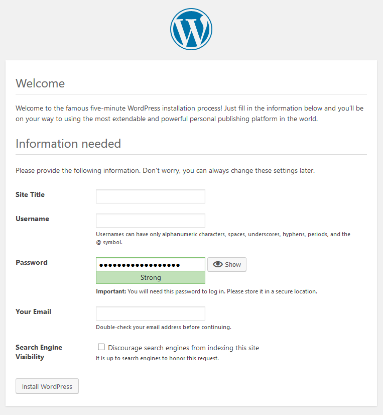 WordPress Setup Step 5